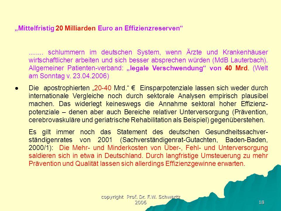"""copyright Prof. Dr. F.W. Schwartz 2006 18 """"Mittelfristig 20 Milliarden Euro an Effizienzreserven""""........ schlummern im deutschen System, wenn Ärzte u"""