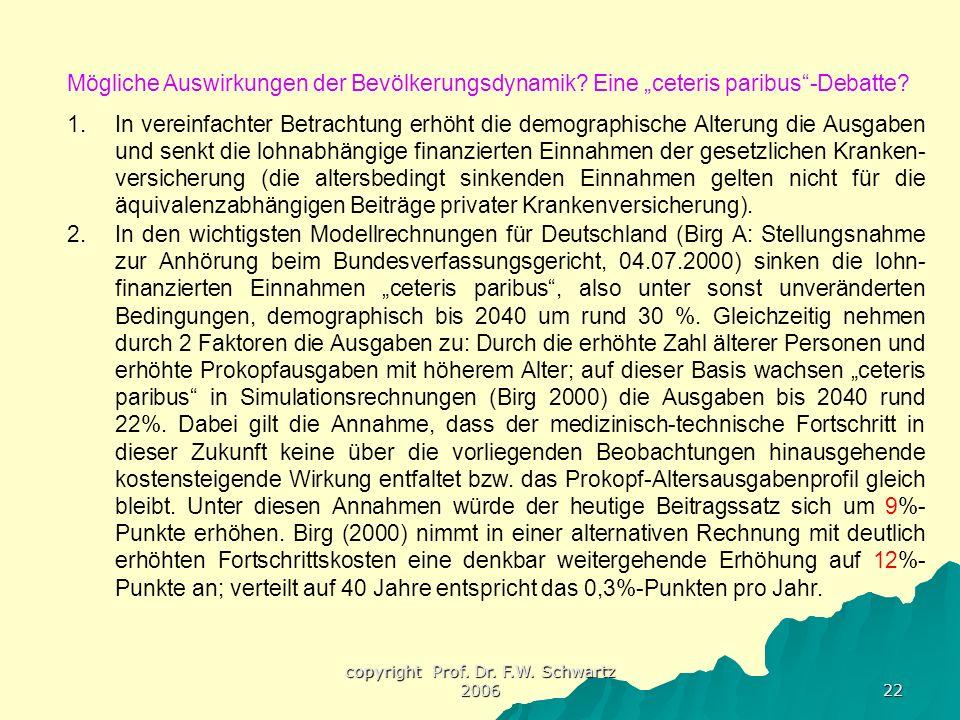"""copyright Prof. Dr. F.W. Schwartz 2006 22 Mögliche Auswirkungen der Bevölkerungsdynamik? Eine """"ceteris paribus""""-Debatte? 1.In vereinfachter Betrachtun"""