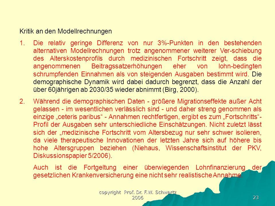 copyright Prof. Dr. F.W. Schwartz 2006 23 Kritik an den Modellrechnungen 1.Die relativ geringe Differenz von nur 3%-Punkten in den bestehenden alterna