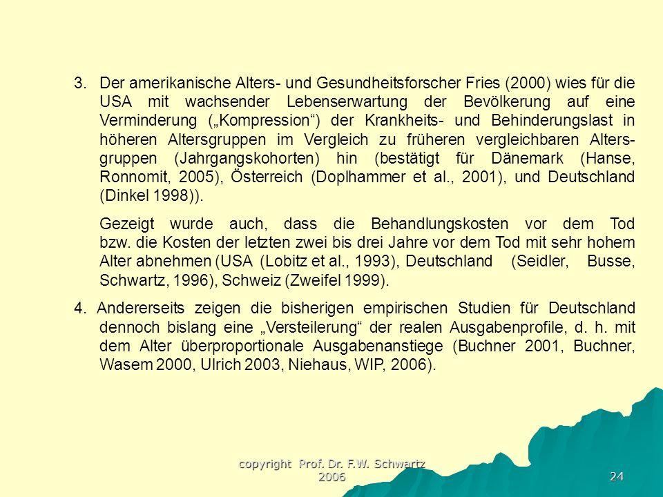 copyright Prof. Dr. F.W. Schwartz 2006 24 3.Der amerikanische Alters- und Gesundheitsforscher Fries (2000) wies für die USA mit wachsender Lebenserwar