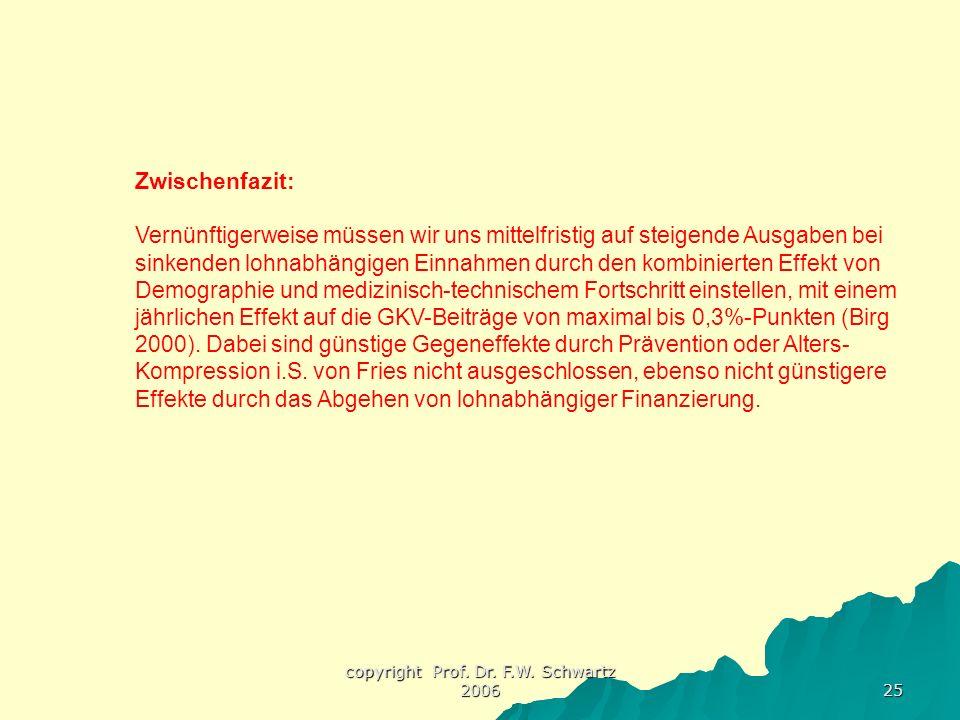 copyright Prof. Dr. F.W. Schwartz 2006 25 Zwischenfazit: Vernünftigerweise müssen wir uns mittelfristig auf steigende Ausgaben bei sinkenden lohnabhän