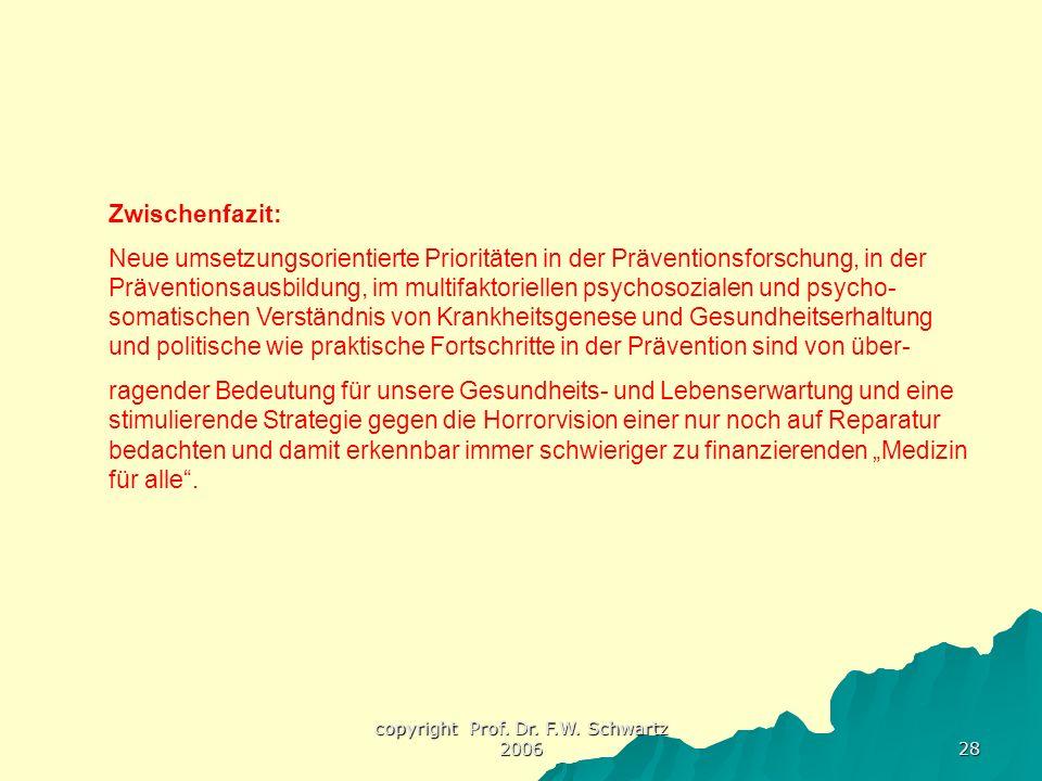 copyright Prof. Dr. F.W. Schwartz 2006 28 Zwischenfazit: Neue umsetzungsorientierte Prioritäten in der Präventionsforschung, in der Präventionsausbild