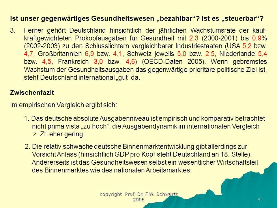 """copyright Prof. Dr. F.W. Schwartz 2006 4 Ist unser gegenwärtiges Gesundheitswesen """"bezahlbar""""? Ist es """"steuerbar""""? 3.Ferner gehört Deutschland hinsich"""