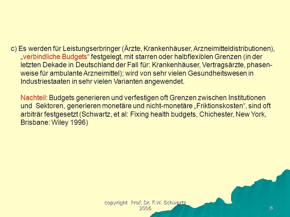 """copyright Prof. Dr. F.W. Schwartz 2006 8 c) Es werden für Leistungserbringer (Ärzte, Krankenhäuser, Arzneimitteldistributionen), """"verbindliche Budgets"""