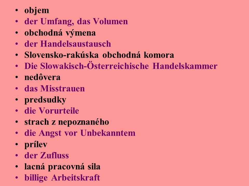 objem der Umfang, das Volumen obchodná výmena der Handelsaustausch Slovensko-rakúska obchodná komora Die Slowakisch-Österreichische Handelskammer nedôvera das Misstrauen predsudky die Vorurteile strach z nepoznaného die Angst vor Unbekanntem prílev der Zufluss lacná pracovná sila billige Arbeitskraft