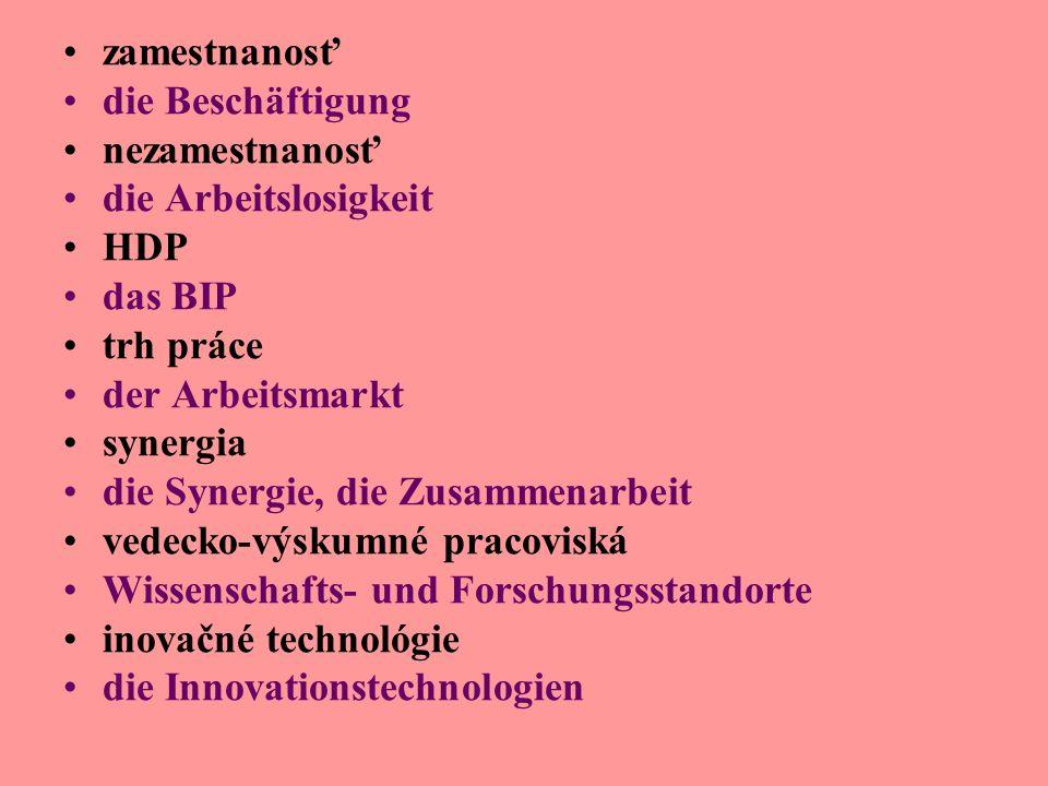 zamestnanosť die Beschäftigung nezamestnanosť die Arbeitslosigkeit HDP das BIP trh práce der Arbeitsmarkt synergia die Synergie, die Zusammenarbeit vedecko-výskumné pracoviská Wissenschafts- und Forschungsstandorte inovačné technológie die Innovationstechnologien