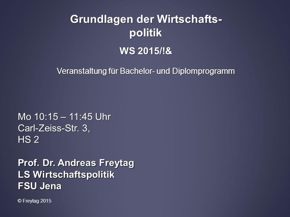Grundlagen der Wirtschafts- politik WS 2015/!& Veranstaltung für Bachelor- und Diplomprogramm Mo 10:15 – 11:45 Uhr Carl-Zeiss-Str. 3, HS 2 Prof. Dr. A