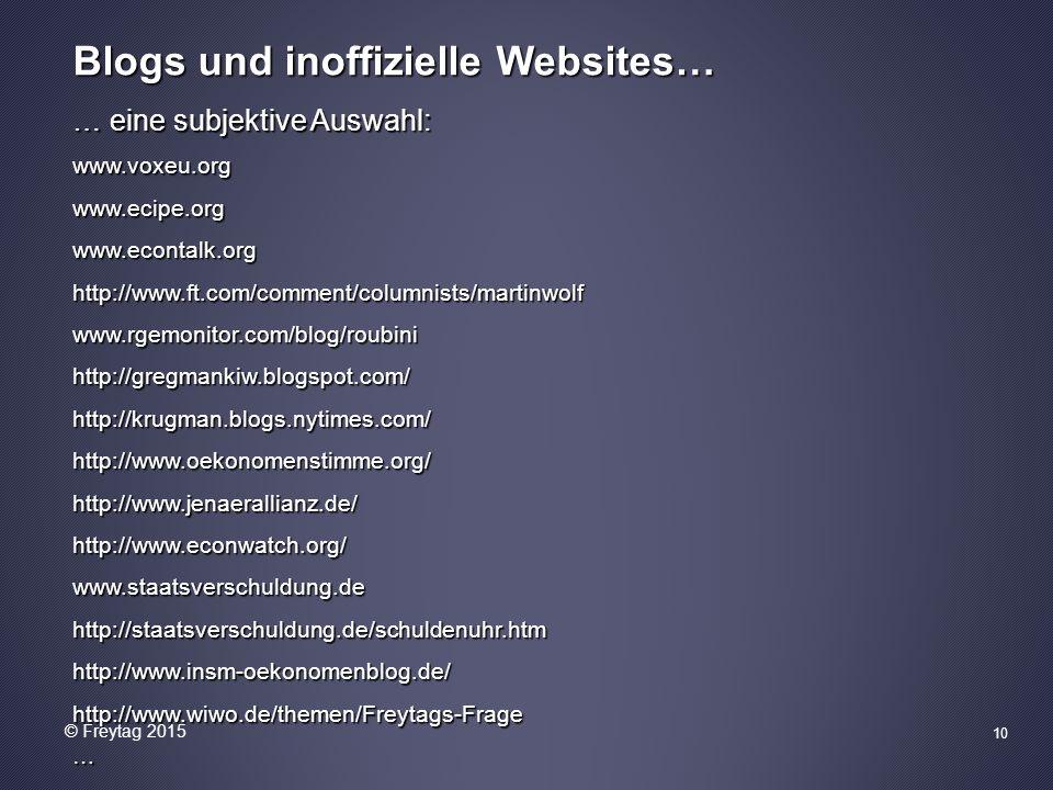 10 Blogs und inoffizielle Websites… … eine subjektive Auswahl: www.voxeu.orgwww.ecipe.orgwww.econtalk.orghttp://www.ft.com/comment/columnists/martinwo