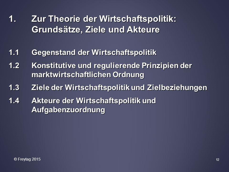 1.Zur Theorie der Wirtschaftspolitik: Grundsätze, Ziele und Akteure 1.1 Gegenstand der Wirtschaftspolitik 1.2 Konstitutive und regulierende Prinzipien