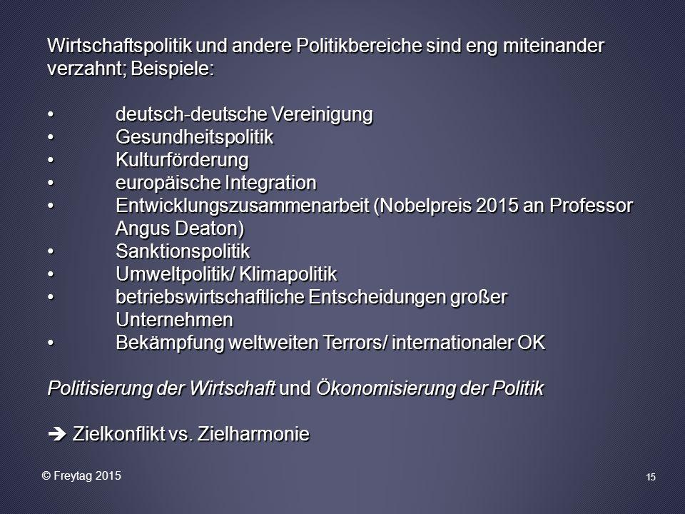 Wirtschaftspolitik und andere Politikbereiche sind eng miteinander verzahnt; Beispiele: deutsch-deutsche Vereinigung deutsch-deutsche Vereinigung Gesu