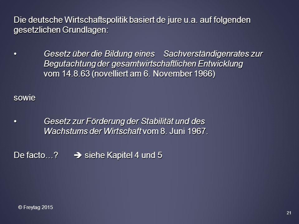 Die deutsche Wirtschaftspolitik basiert de jure u.a. auf folgenden gesetzlichen Grundlagen: Gesetz über die Bildung eines Sachverständigenrates zur Be