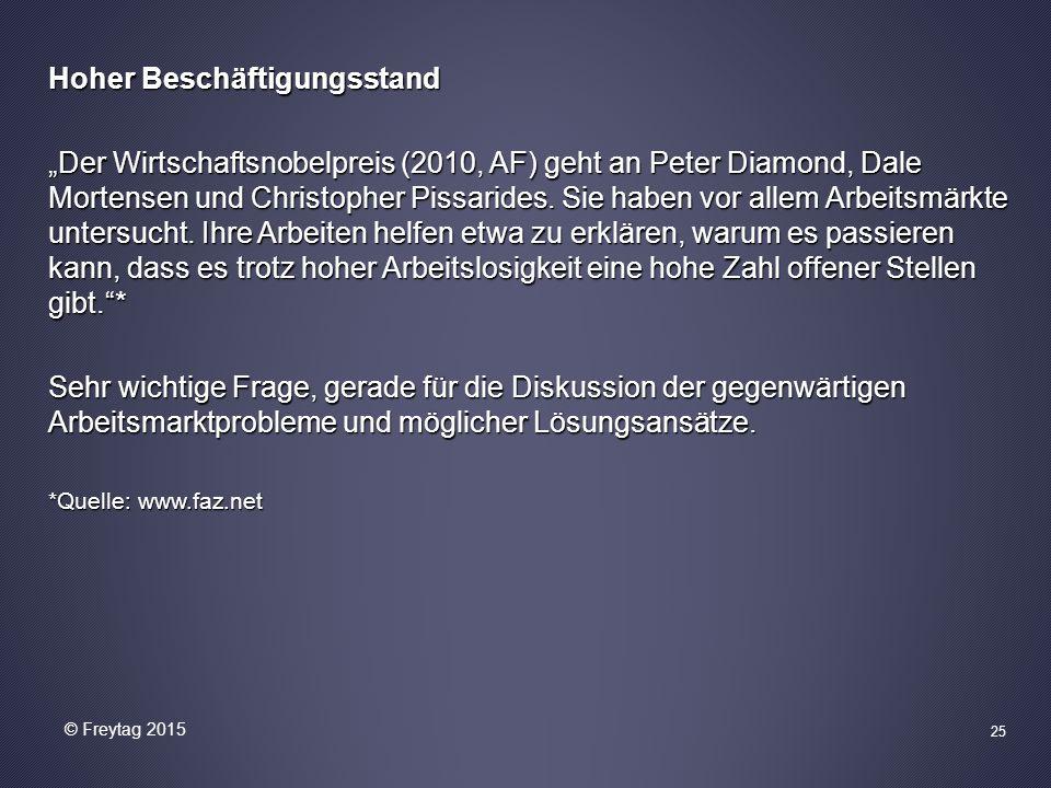 """Hoher Beschäftigungsstand """"Der Wirtschaftsnobelpreis (2010, AF) geht an Peter Diamond, Dale Mortensen und Christopher Pissarides."""