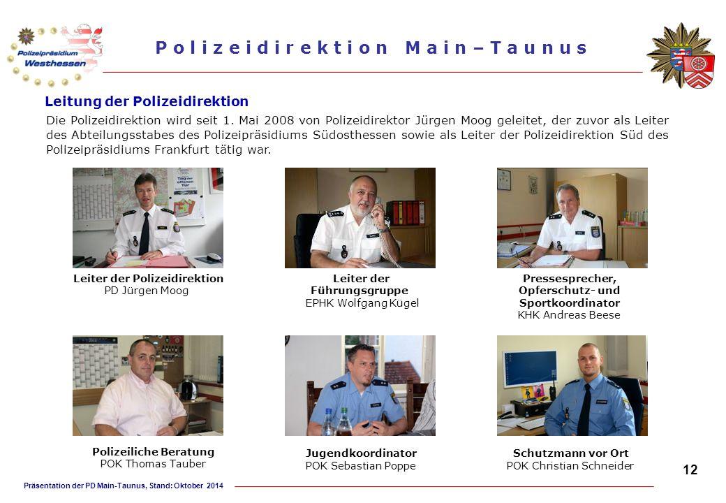 Präsentation der PD Main-Taunus, Stand: Oktober 2014 P o l i z e i d i r e k t i o n M a i n – T a u n u s Leitung der Polizeidirektion Leiter der Füh
