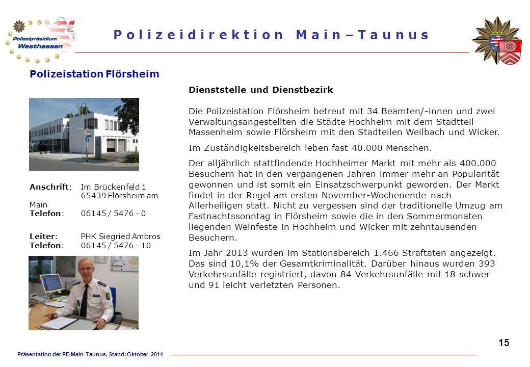 Präsentation der PD Main-Taunus, Stand: Oktober 2014 P o l i z e i d i r e k t i o n M a i n – T a u n u s Polizeistation Flörsheim Dienststelle und D