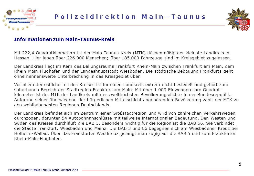 Präsentation der PD Main-Taunus, Stand: Oktober 2014 P o l i z e i d i r e k t i o n M a i n – T a u n u s Polizeistation Kelkheim Dienststelle und Dienstbezirk Die Polizeistation Kelkheim betreut mit 34 Beamten/-innen und zwei Verwaltungsangestellten die Städte Kelkheim mit den Stadtteilen Fischbach, Ruppertshain und Eppenhain, Eppstein mit den Stadtteilen Bremthal, Vockenhausen, Niederjosbach und Ehlhalten sowie die Gemeinde Liederbach.