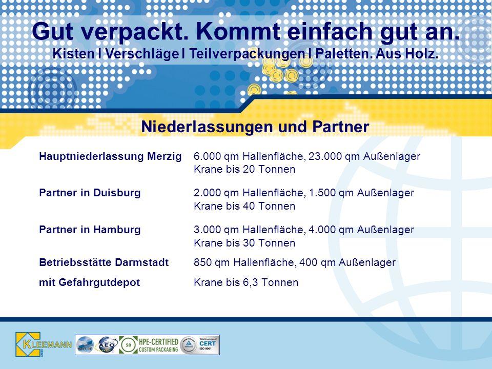 Niederlassungen und Partner Hauptniederlassung Merzig6.000 qm Hallenfläche, 23.000 qm Außenlager Krane bis 20 Tonnen Partner in Duisburg2.000 qm Hallenfläche, 1.500 qm Außenlager Krane bis 40 Tonnen Partner in Hamburg3.000 qm Hallenfläche, 4.000 qm Außenlager Krane bis 30 Tonnen Betriebsstätte Darmstadt850 qm Hallenfläche, 400 qm Außenlager mit GefahrgutdepotKrane bis 6,3 Tonnen Gut verpackt.