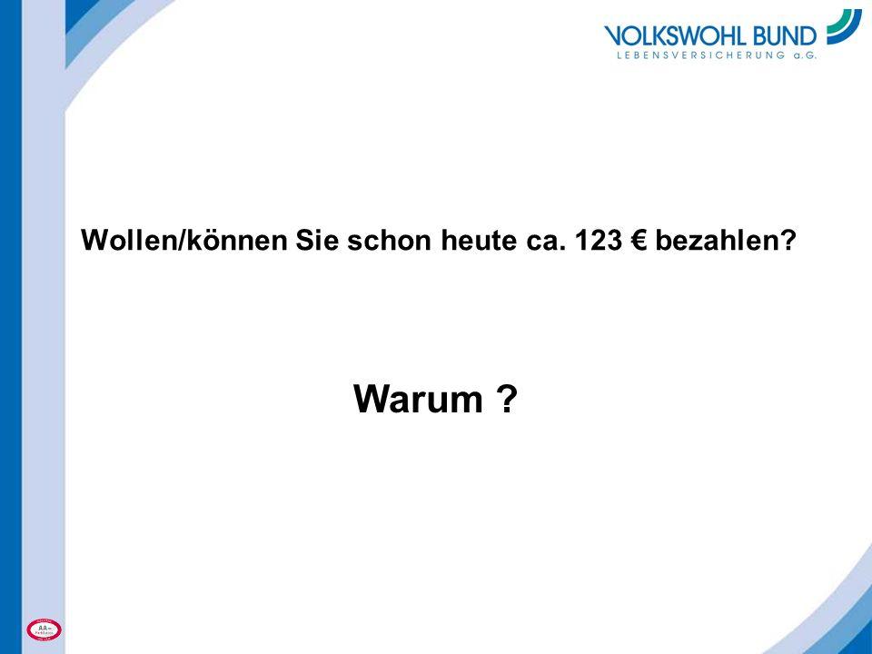 Wollen/können Sie schon heute ca. 123 € bezahlen? Warum ?