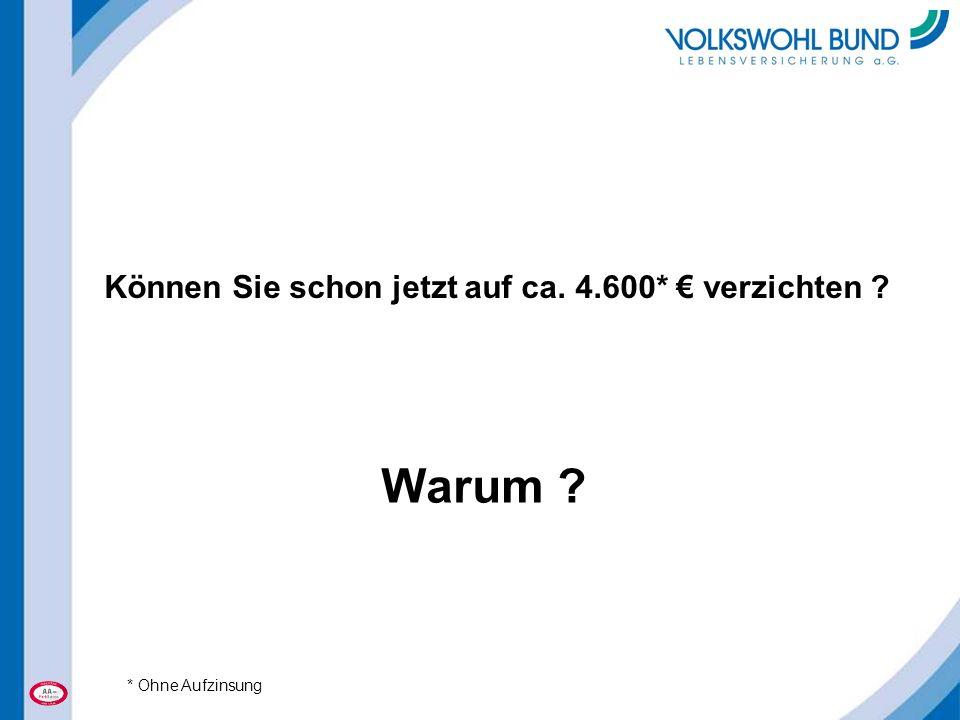 Können Sie schon jetzt auf ca. 4.600* € verzichten ? Warum ? * Ohne Aufzinsung