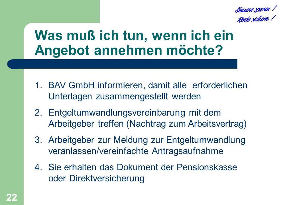 22 Was muß ich tun, wenn ich ein Angebot annehmen möchte? 1.BAV GmbH informieren, damit alle erforderlichen Unterlagen zusammengestellt werden 2.Entge