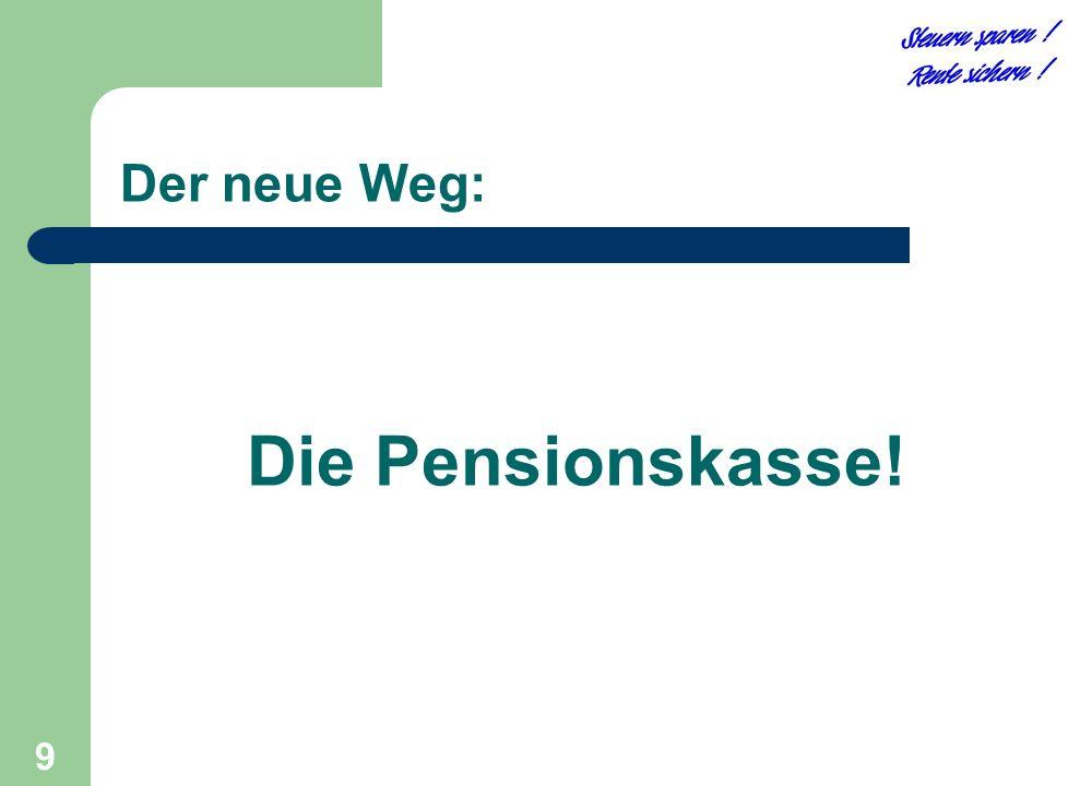 9 Die Pensionskasse! Der neue Weg: