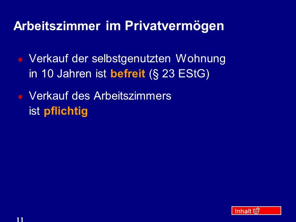 Inhalt 11 Arbeitszimmer im Privatvermögen Verkauf der selbstgenutzten Wohnung in 10 Jahren ist befreit (§ 23 EStG) Verkauf des Arbeitszimmers ist pflichtig