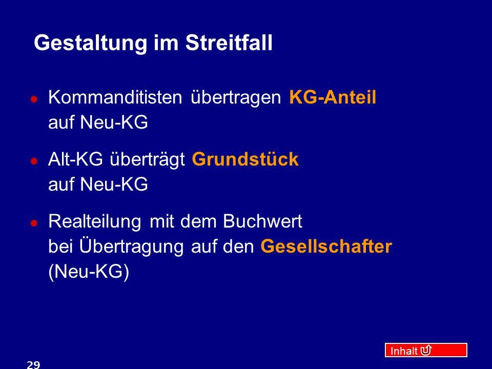 Inhalt 29 Gestaltung im Streitfall Kommanditisten übertragen KG-Anteil auf Neu-KG Alt-KG überträgt Grundstück auf Neu-KG Realteilung mit dem Buchwert bei Übertragung auf den Gesellschafter (Neu-KG)