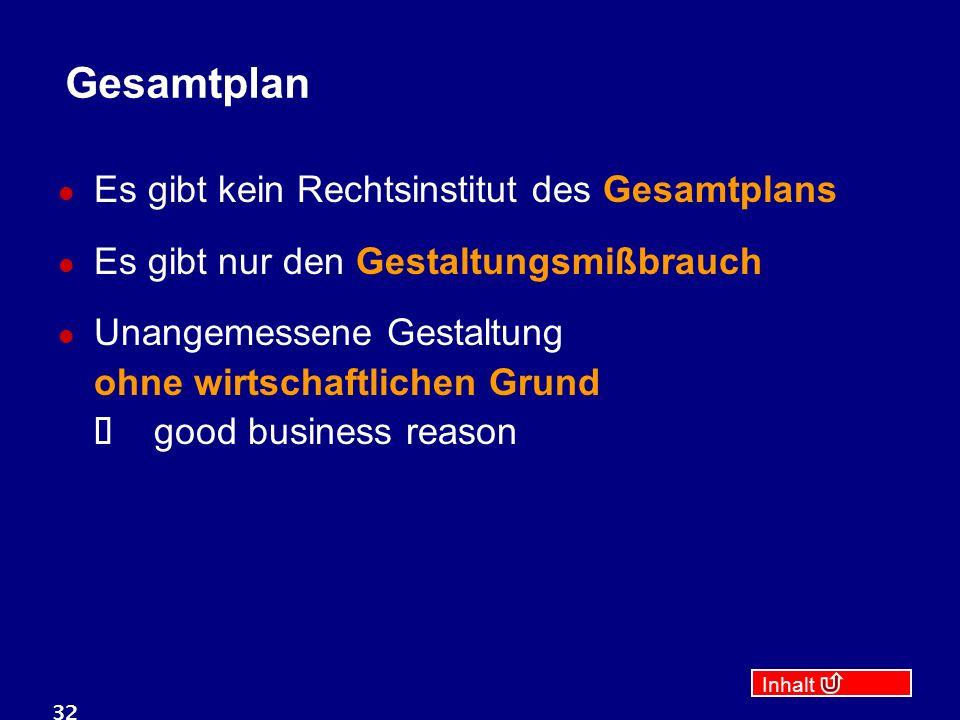 Inhalt 32 Gesamtplan Es gibt kein Rechtsinstitut des Gesamtplans Es gibt nur den Gestaltungsmißbrauch Unangemessene Gestaltung ohne wirtschaftlichen Grund  good business reason