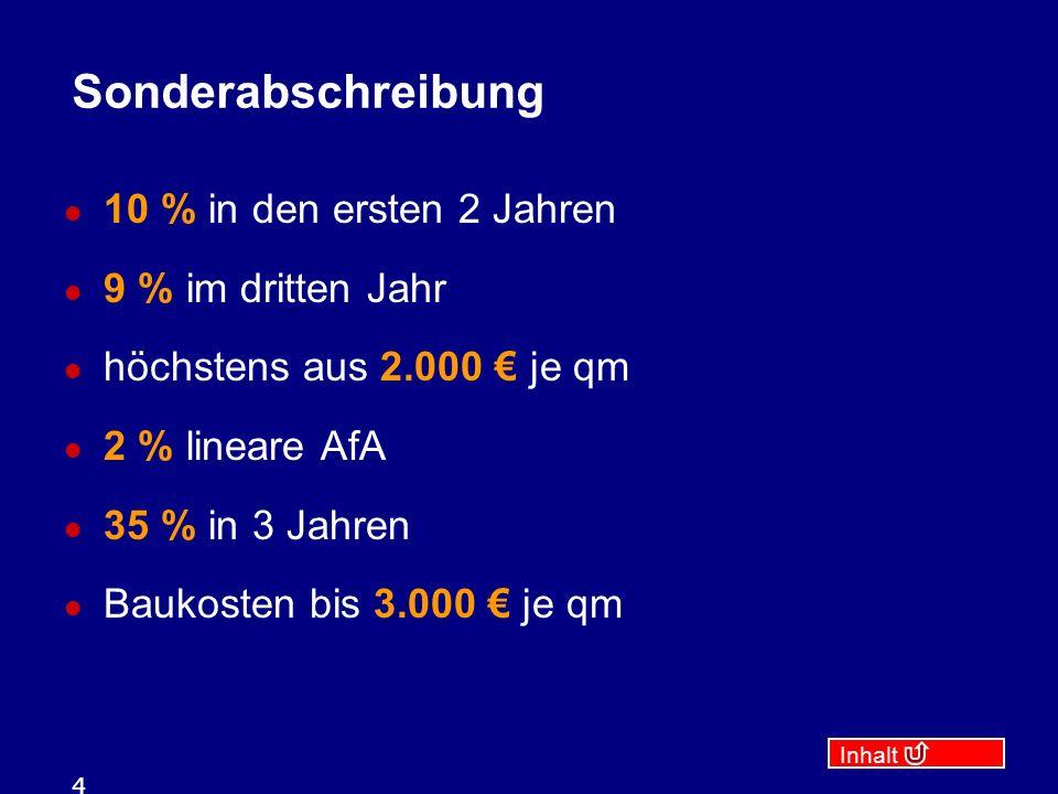 Inhalt 4 Sonderabschreibung 10 % in den ersten 2 Jahren 9 % im dritten Jahr höchstens aus 2.000 € je qm 2 % lineare AfA 35 % in 3 Jahren Baukosten bis 3.000 € je qm