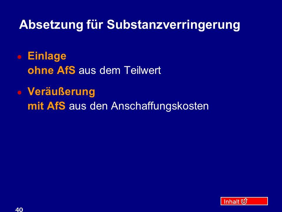 Inhalt 40 Absetzung für Substanzverringerung Einlage ohne AfS aus dem Teilwert Veräußerung mit AfS aus den Anschaffungskosten