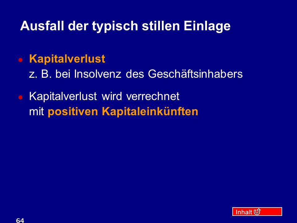 Inhalt 64 Ausfall der typisch stillen Einlage Kapitalverlust z.