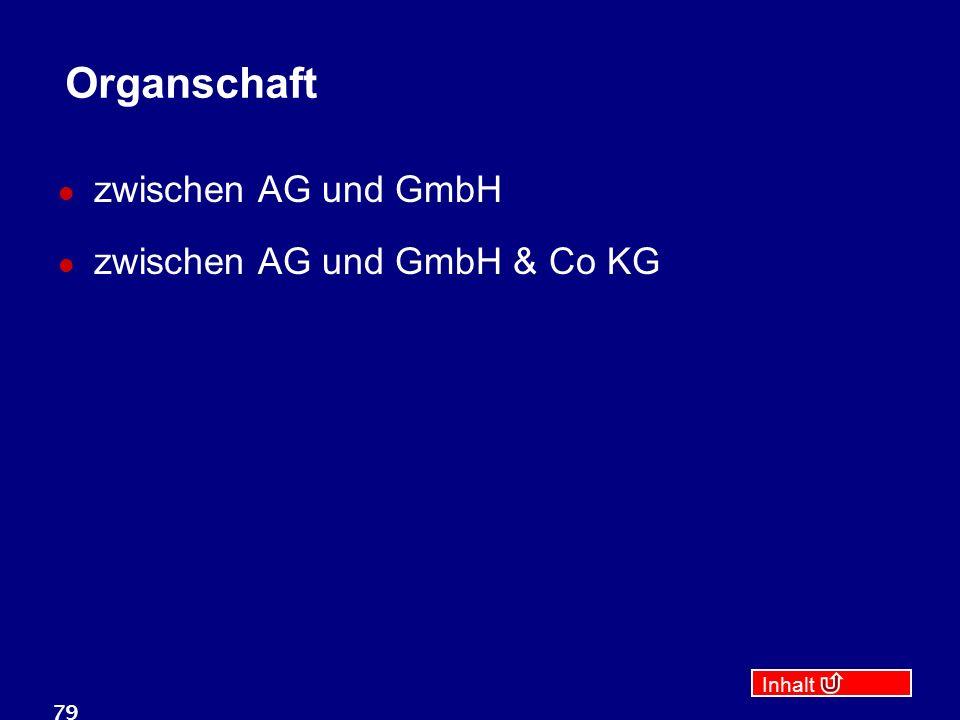 Inhalt 79 Organschaft zwischen AG und GmbH zwischen AG und GmbH & Co KG