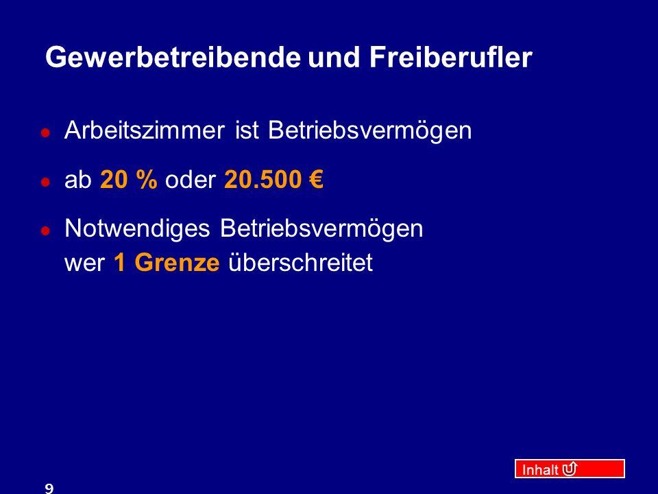 Inhalt 9 Gewerbetreibende und Freiberufler Arbeitszimmer ist Betriebsvermögen ab 20 % oder 20.500 € Notwendiges Betriebsvermögen wer 1 Grenze überschreitet