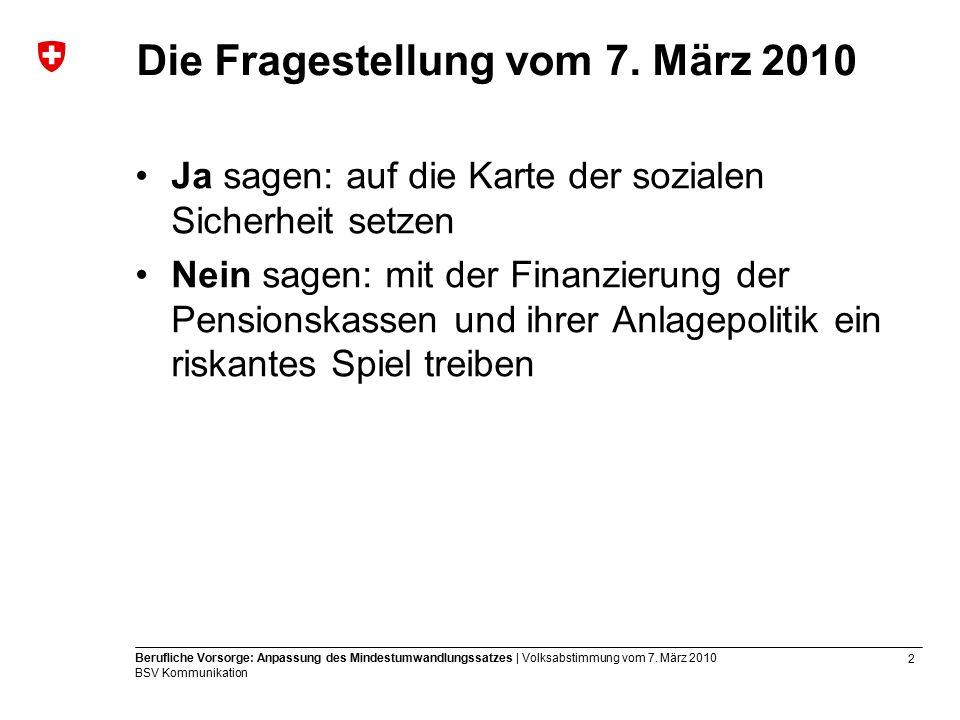 13 Berufliche Vorsorge: Anpassung des Mindestumwandlungssatzes | Volksabstimmung vom 7.