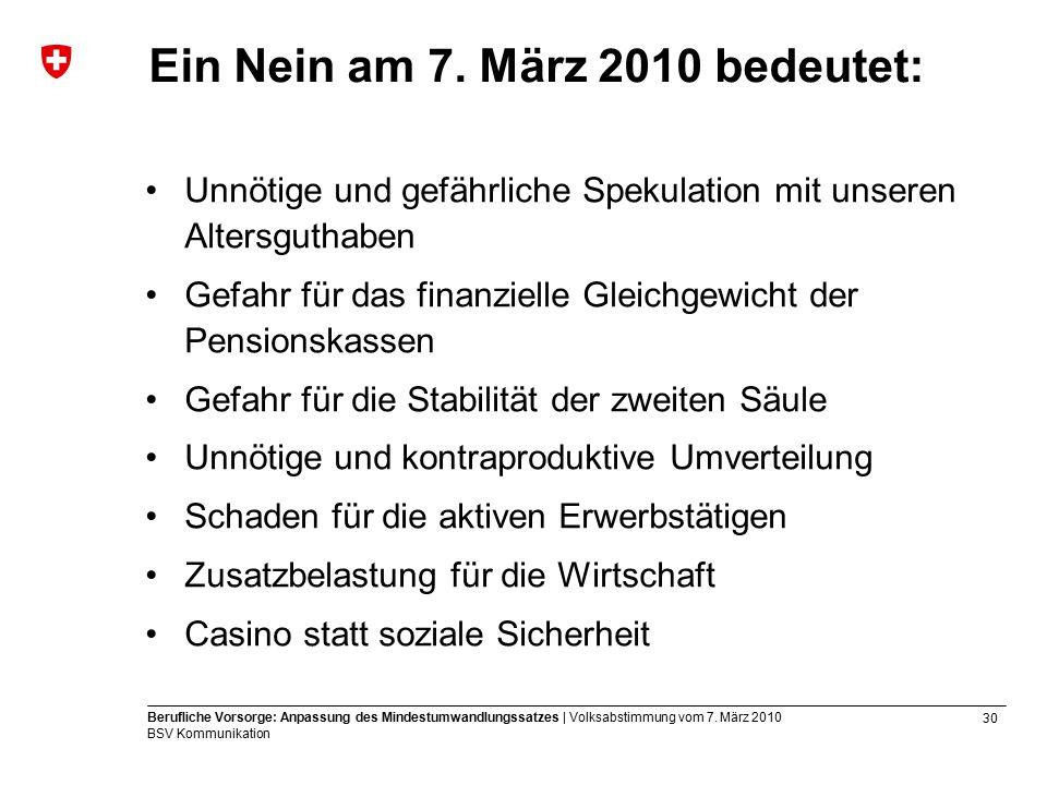 30 Berufliche Vorsorge: Anpassung des Mindestumwandlungssatzes | Volksabstimmung vom 7.