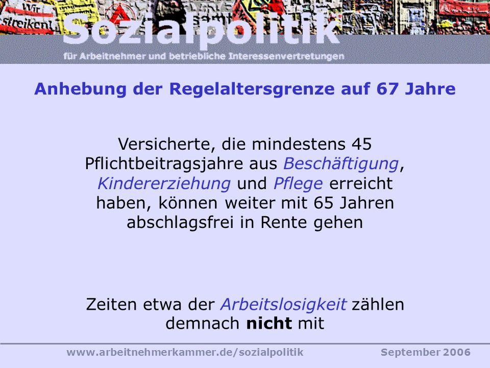 www.arbeitnehmerkammer.de/sozialpolitikSeptember 2006 Versicherte, die mindestens 45 Pflichtbeitragsjahre aus Beschäftigung, Kindererziehung und Pflege erreicht haben, können weiter mit 65 Jahren abschlagsfrei in Rente gehen Zeiten etwa der Arbeitslosigkeit zählen demnach nicht mit Anhebung der Regelaltersgrenze auf 67 Jahre