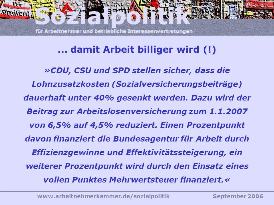 www.arbeitnehmerkammer.de/sozialpolitikSeptember 2006 »CDU, CSU und SPD stellen sicher, dass die Lohnzusatzkosten (Sozialversicherungsbeiträge) dauerhaft unter 40% gesenkt werden.