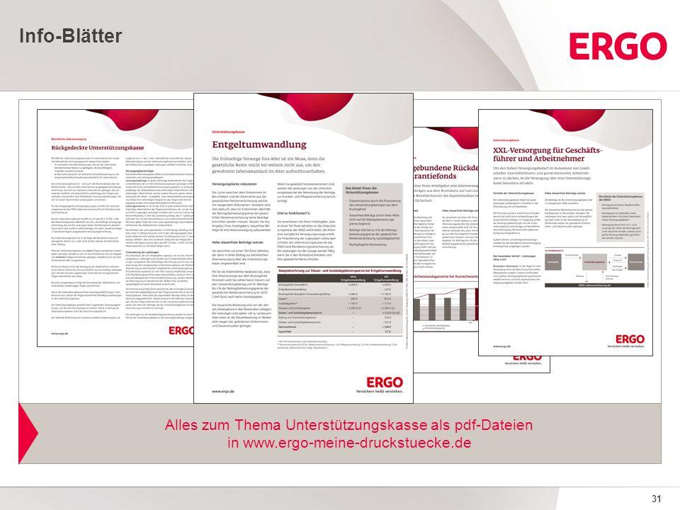 31 Info-Blätter Alles zum Thema Unterstützungskasse als pdf-Dateien in www.ergo-meine-druckstuecke.de