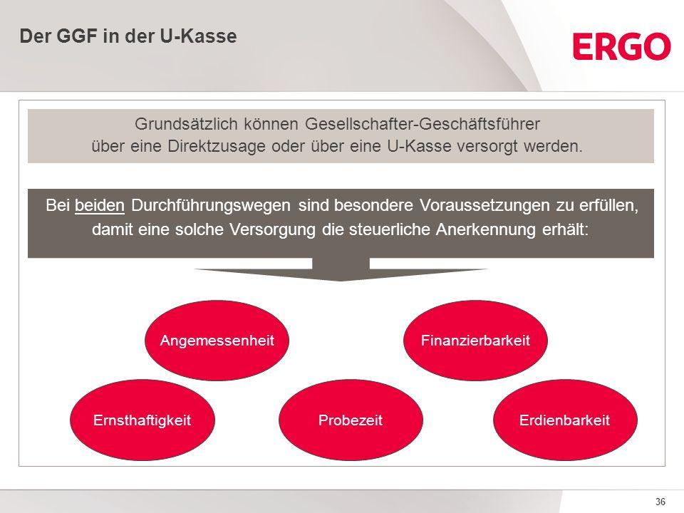 36 Der GGF in der U-Kasse Grundsätzlich können Gesellschafter-Geschäftsführer über eine Direktzusage oder über eine U-Kasse versorgt werden.
