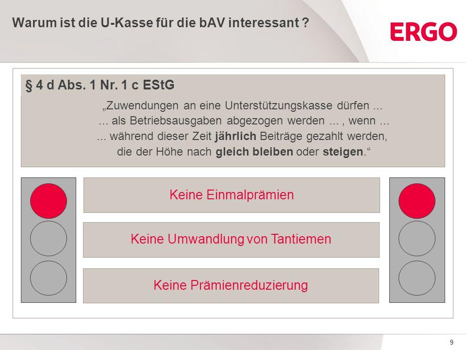 9 Warum ist die U-Kasse für die bAV interessant . § 4 d Abs.