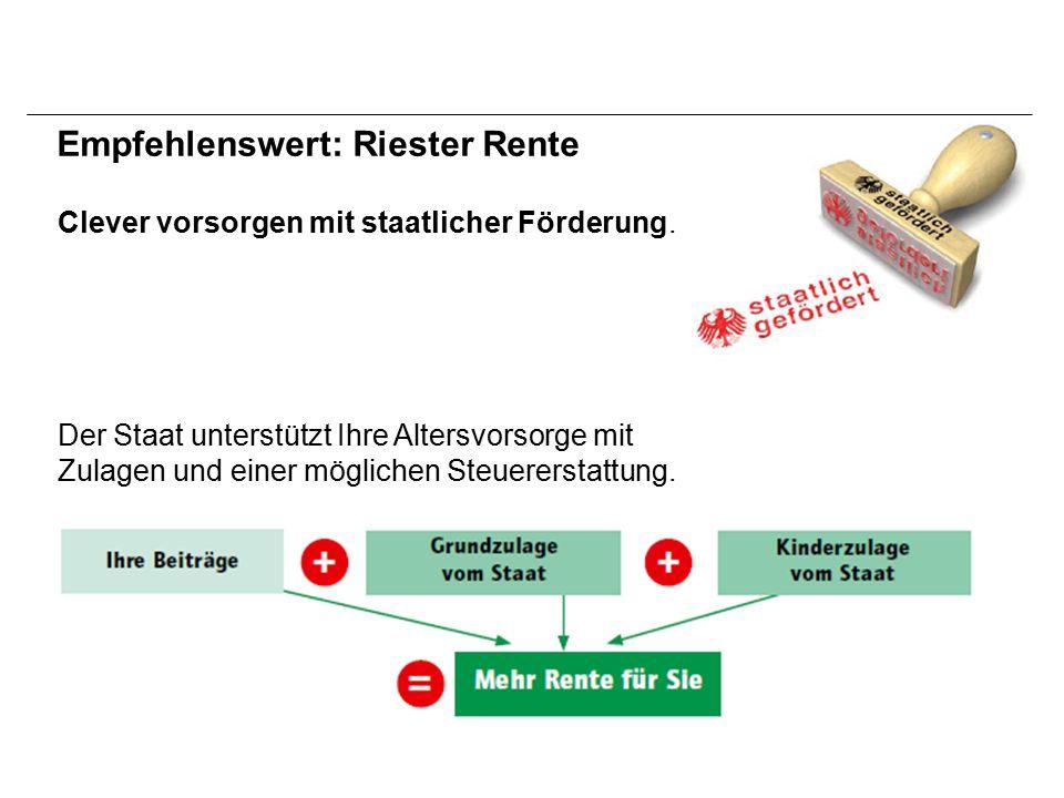 Empfehlenswert: Riester Rente Clever vorsorgen mit staatlicher Förderung.