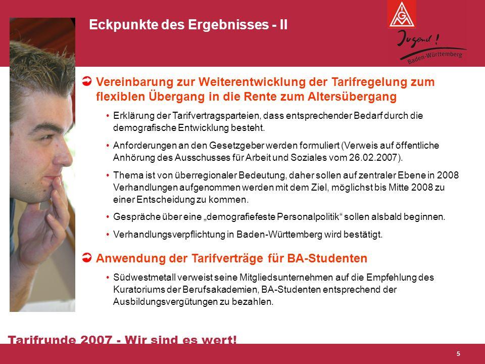 Tarifrunde 2007 - Wir sind es wert! 5 Eckpunkte des Ergebnisses - II Vereinbarung zur Weiterentwicklung der Tarifregelung zum flexiblen Übergang in di