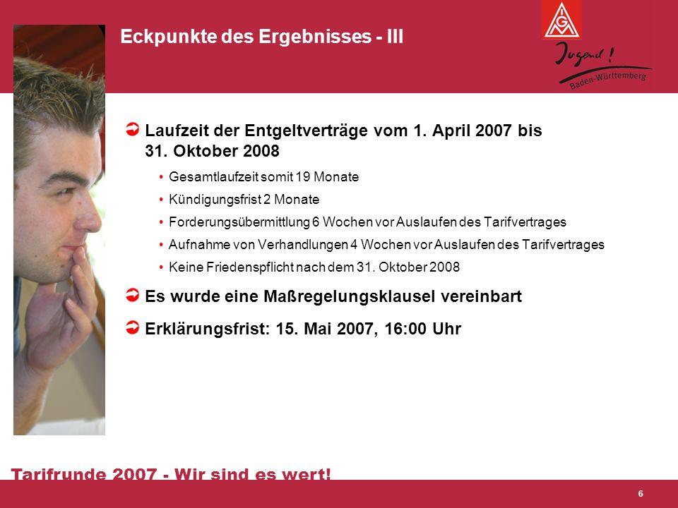 Tarifrunde 2007 - Wir sind es wert! 6 Eckpunkte des Ergebnisses - III Laufzeit der Entgeltverträge vom 1. April 2007 bis 31. Oktober 2008 Gesamtlaufze