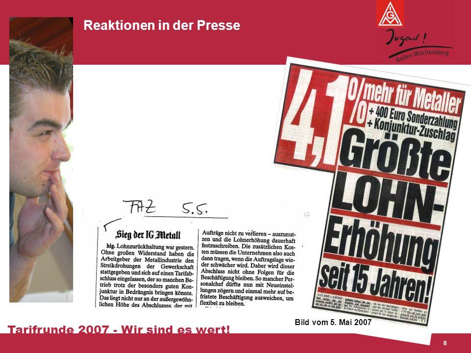 Tarifrunde 2007 - Wir sind es wert! 8 Reaktionen in der Presse Bild vom 5. Mai 2007