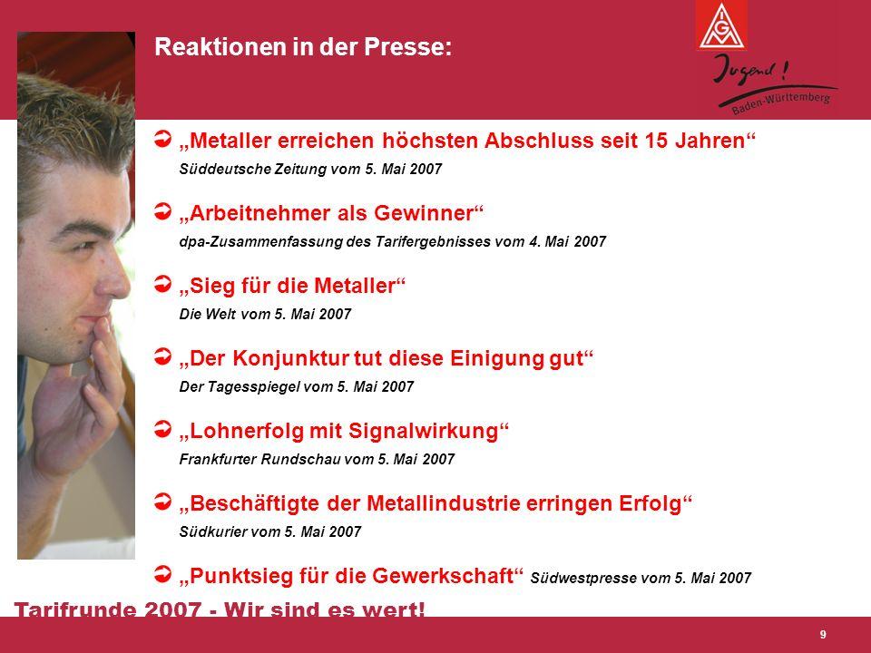 """Tarifrunde 2007 - Wir sind es wert! 9 Reaktionen in der Presse: """"Metaller erreichen höchsten Abschluss seit 15 Jahren"""" Süddeutsche Zeitung vom 5. Mai"""