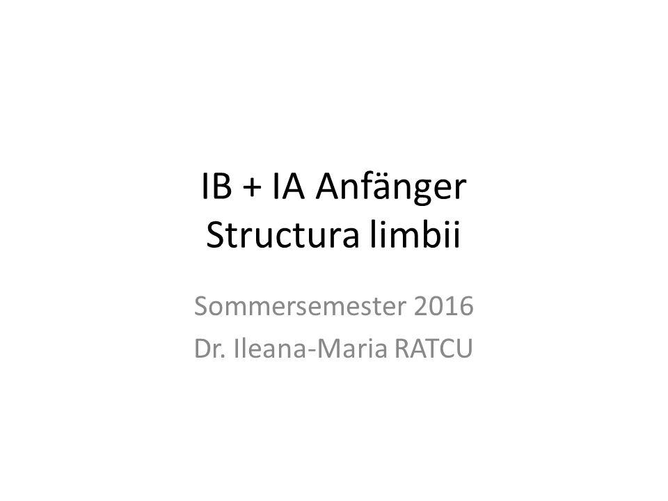 IB + IA Anfänger Structura limbii Sommersemester 2016 Dr. Ileana-Maria RATCU