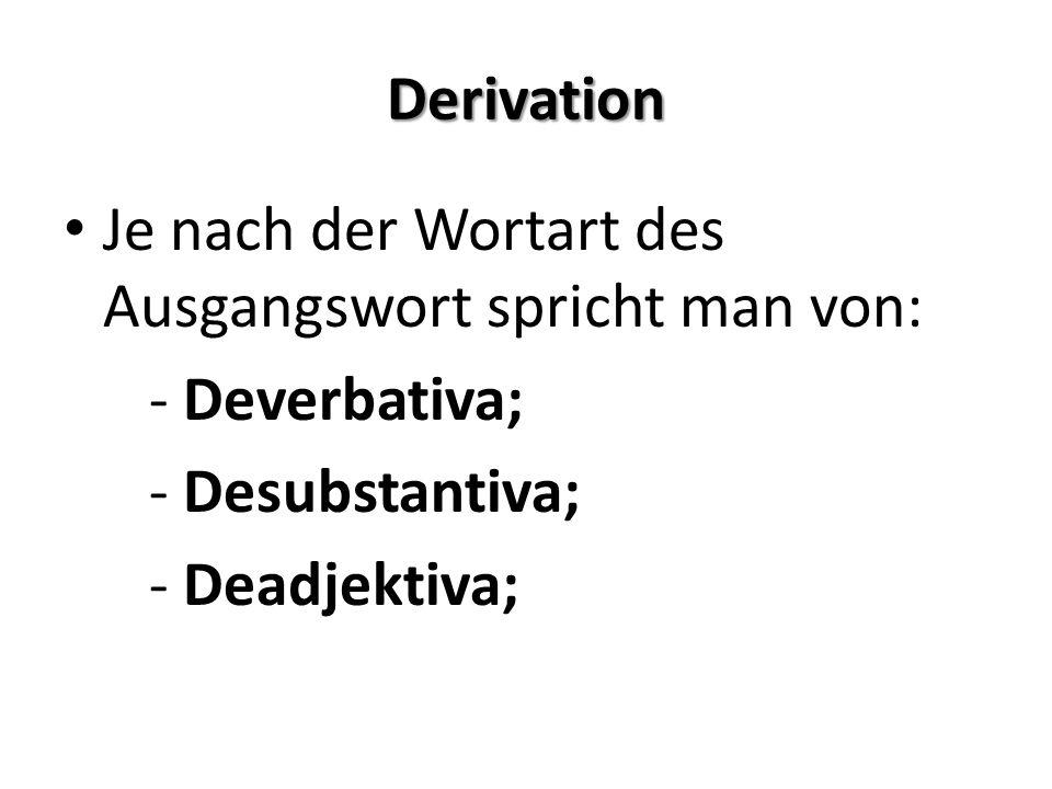 Ableitung mit Präfixen/Präfixbildung Fast alle präfigierten Substantive haben als Basis ein Substantiv.