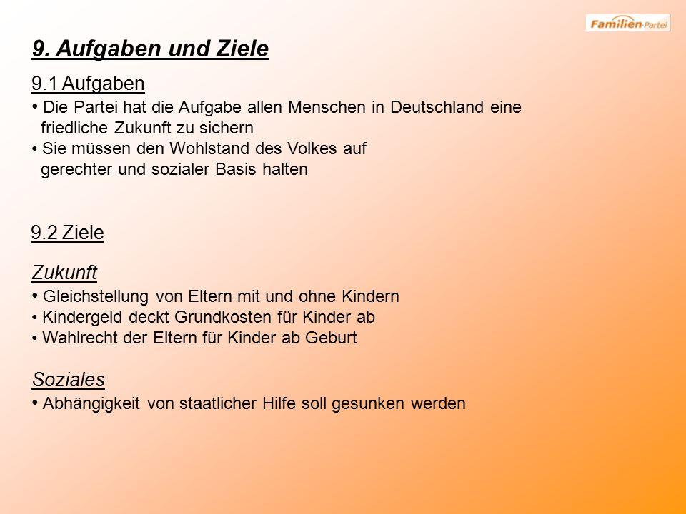 9. Aufgaben und Ziele 9.1 Aufgaben Die Partei hat die Aufgabe allen Menschen in Deutschland eine friedliche Zukunft zu sichern Sie müssen den Wohlstan