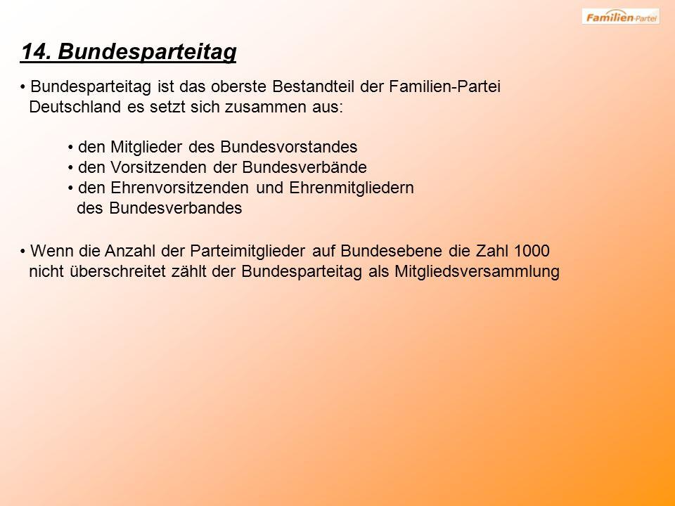14. Bundesparteitag Bundesparteitag ist das oberste Bestandteil der Familien-Partei Deutschland es setzt sich zusammen aus: den Mitglieder des Bundesv