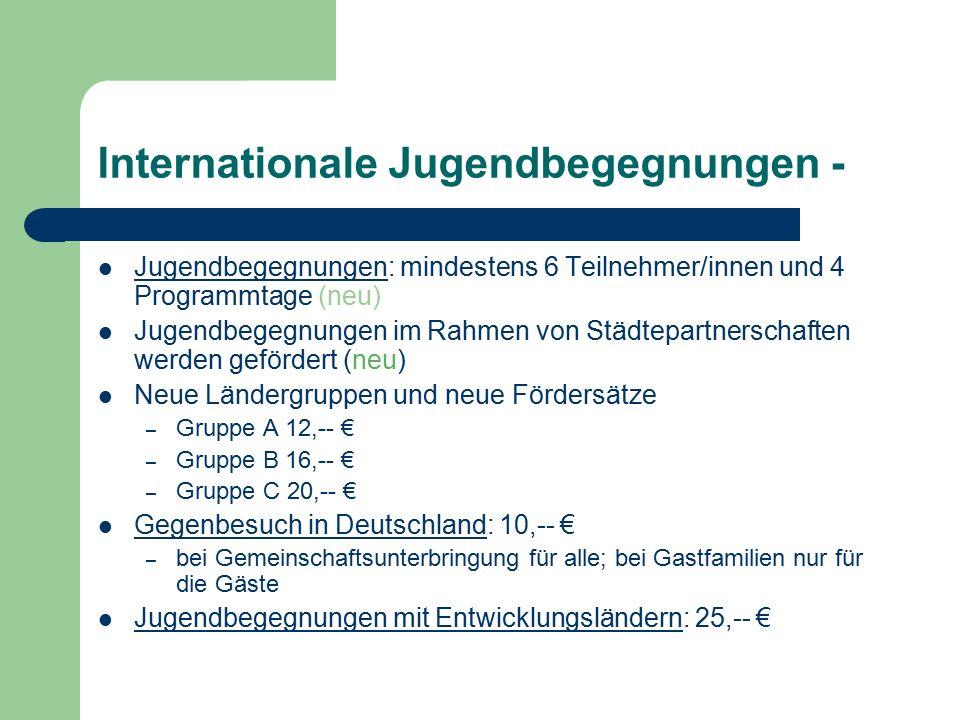 Internationale Jugendbegegnungen - Jugendbegegnungen: mindestens 6 Teilnehmer/innen und 4 Programmtage (neu) Jugendbegegnungen im Rahmen von Städtepartnerschaften werden gefördert (neu) Neue Ländergruppen und neue Fördersätze – Gruppe A 12,-- € – Gruppe B 16,-- € – Gruppe C 20,-- € Gegenbesuch in Deutschland: 10,-- € – bei Gemeinschaftsunterbringung für alle; bei Gastfamilien nur für die Gäste Jugendbegegnungen mit Entwicklungsländern: 25,-- €