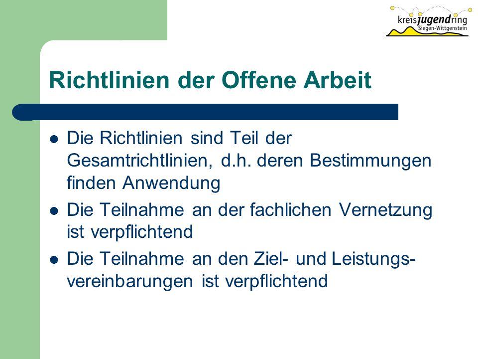 Richtlinien der Offene Arbeit Die Richtlinien sind Teil der Gesamtrichtlinien, d.h.